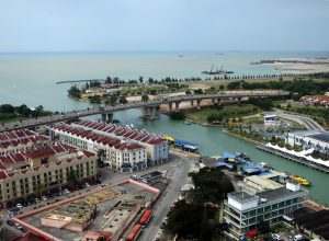 Malacca marina, river entrance and CIQ building - Photo by Bill O'Leary