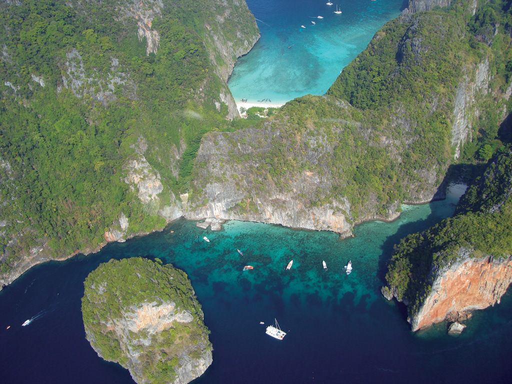 Phi Phi Le's The Beach in Maya Bay, with Ao Loh Samah in the foreground - Photo by Bill O'leary