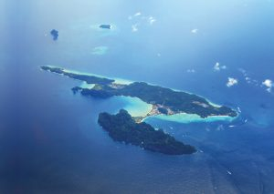 Phi Phi Don from the southwest, with Koh Yung, Koh Maipai & (just visible) Hin Klang Reef - Photo by Bill O'leary