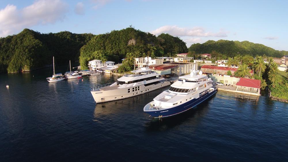 Superyachts at Sam's Place - Photo by Captain David Thornburn
