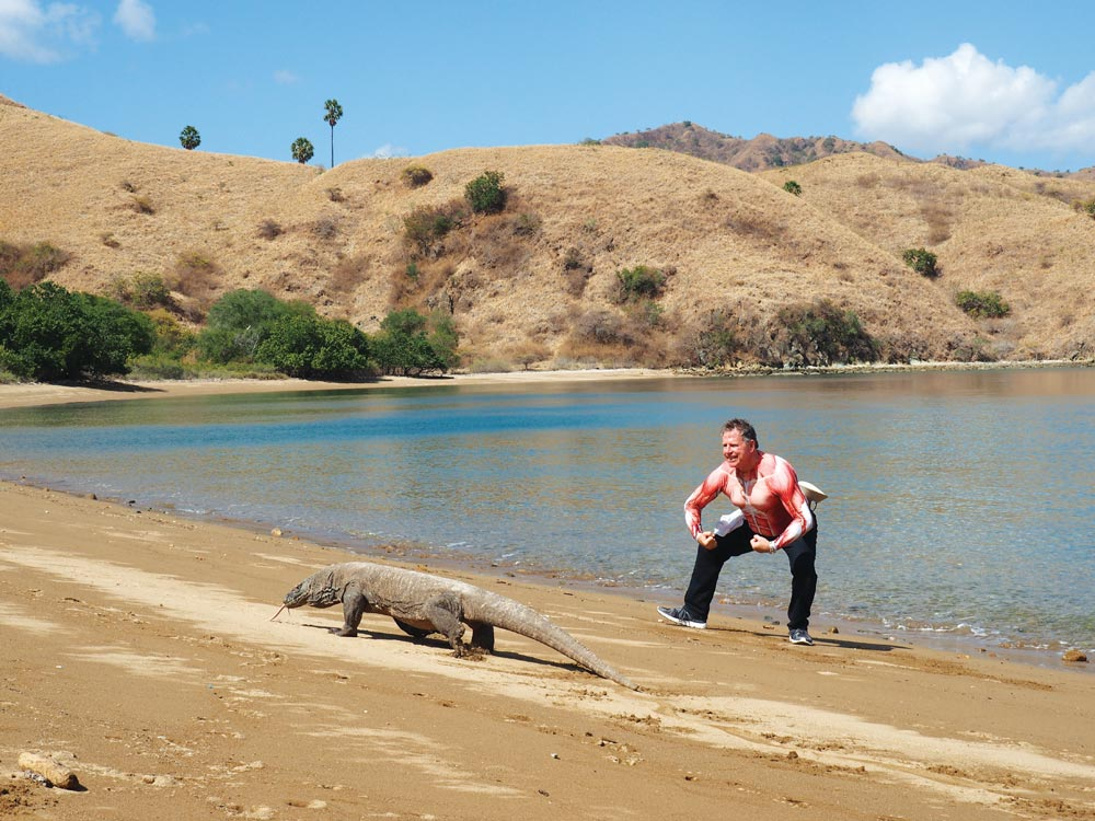 Southeast Asia Pilot author, Bill O'Leary, in Komodo – growing up doesn't come easy