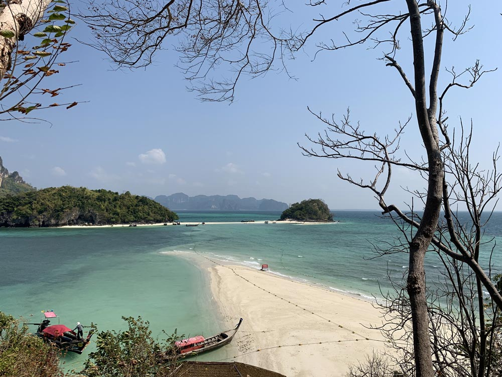 View of Koh Thap, Koh Tup and the sandbar from the top of Koh Dam Khwan