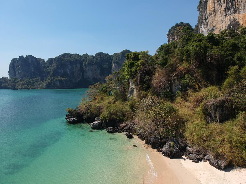 Right at the top end of Railay Beach