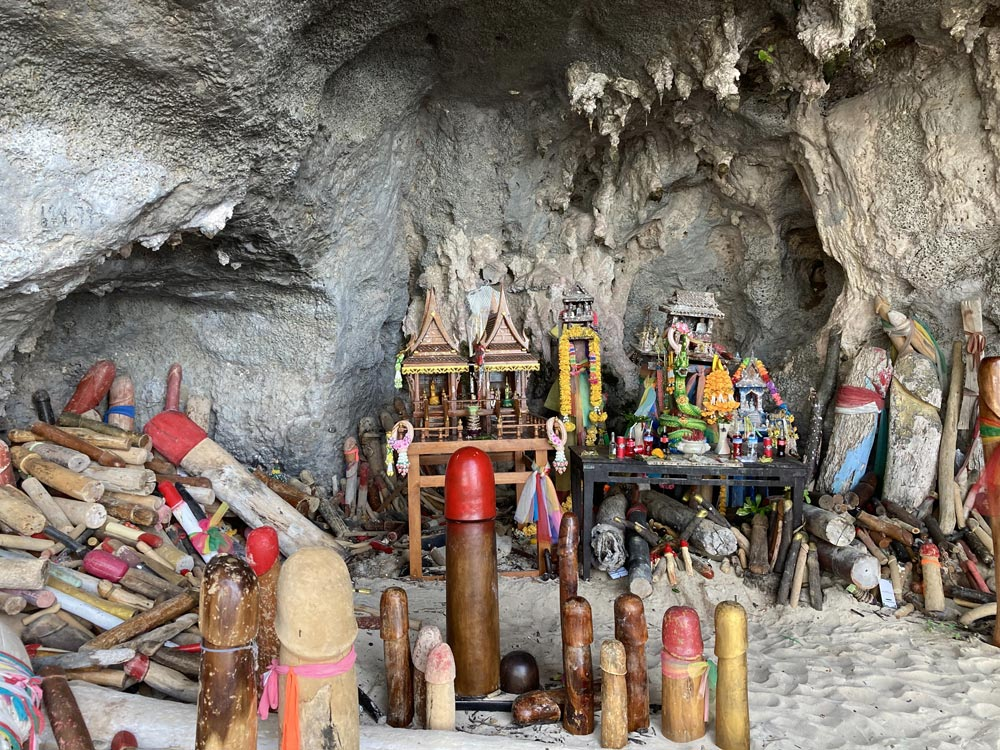 Princess Cave with colourful Phallic shrine at Tham Phra Nang | Photo by Grenville Fordham