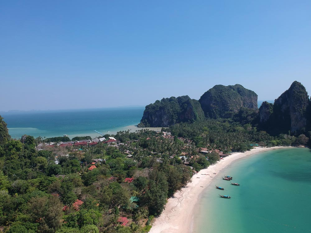 Railay Beach and East Railay with its long floating jetty just visible