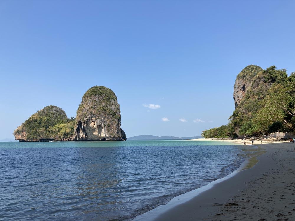 Shady cliffs at Tham Phra Nang beach