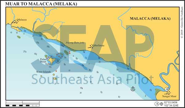 Muar to Malacca (Melaka) chart