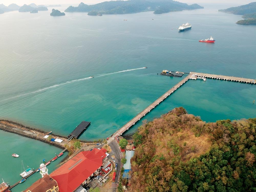 Drone shot of Awarna Porto Malai Resorts World and Genting Call Port Pier