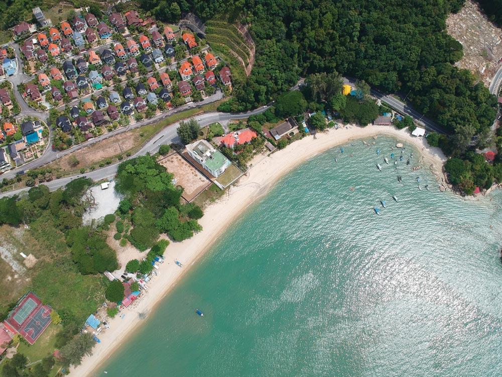 Drone shot of the southwest corner of Batu Ferringhi in Penang