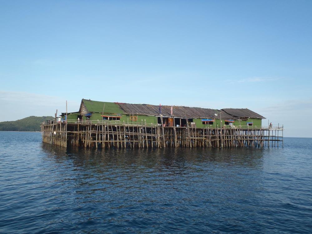 Kelong fishing structure 20 miles southwest of Pulau Sibu