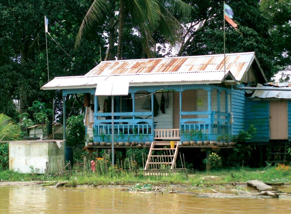 Riverside dwelling on the Kinabatangan River