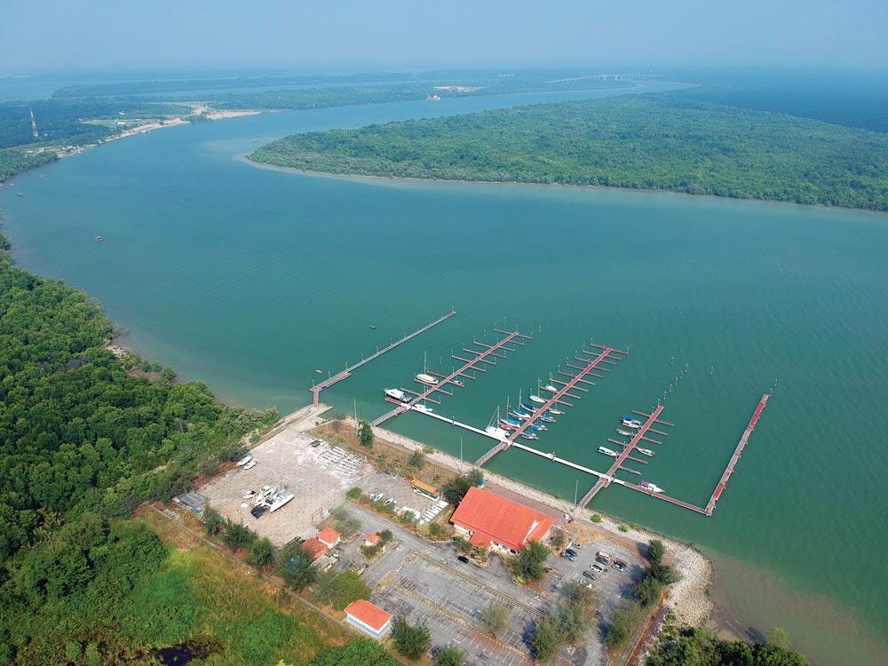 Drone shot of the marina at Pulau Indah, Port Klang