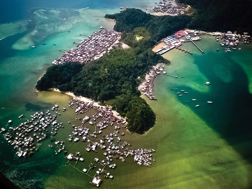 Kampung Pondo, with a huge colony of illegal immigrants' houses in Gaya Island.