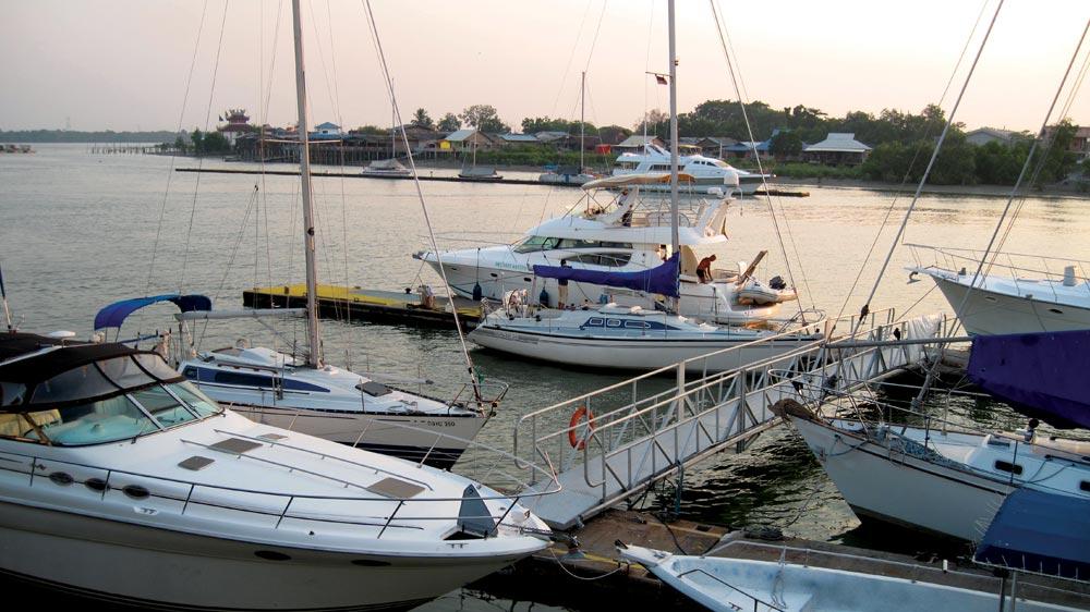 A selection of yachts and smaller power boats at Royal Selangor Yacht Club