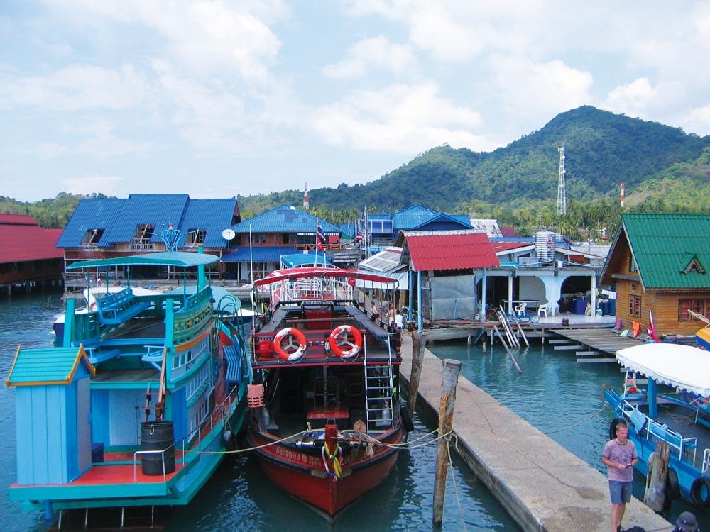 Busy pier with lots of shops at Ao Bang Bao on Koh Chang