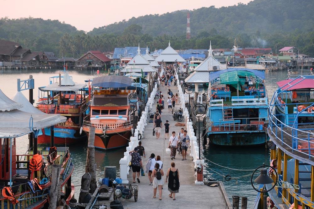 Lively Bang Bao pier on Koh Chang