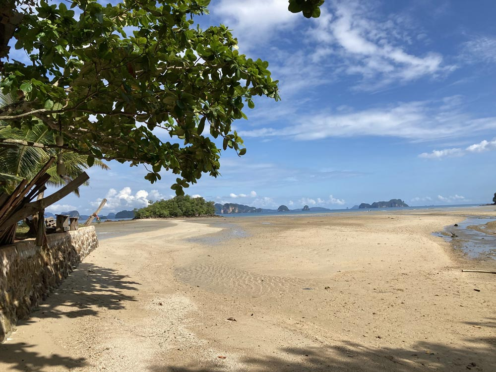At low tide you can walk from the beach to the island, Koh Nok