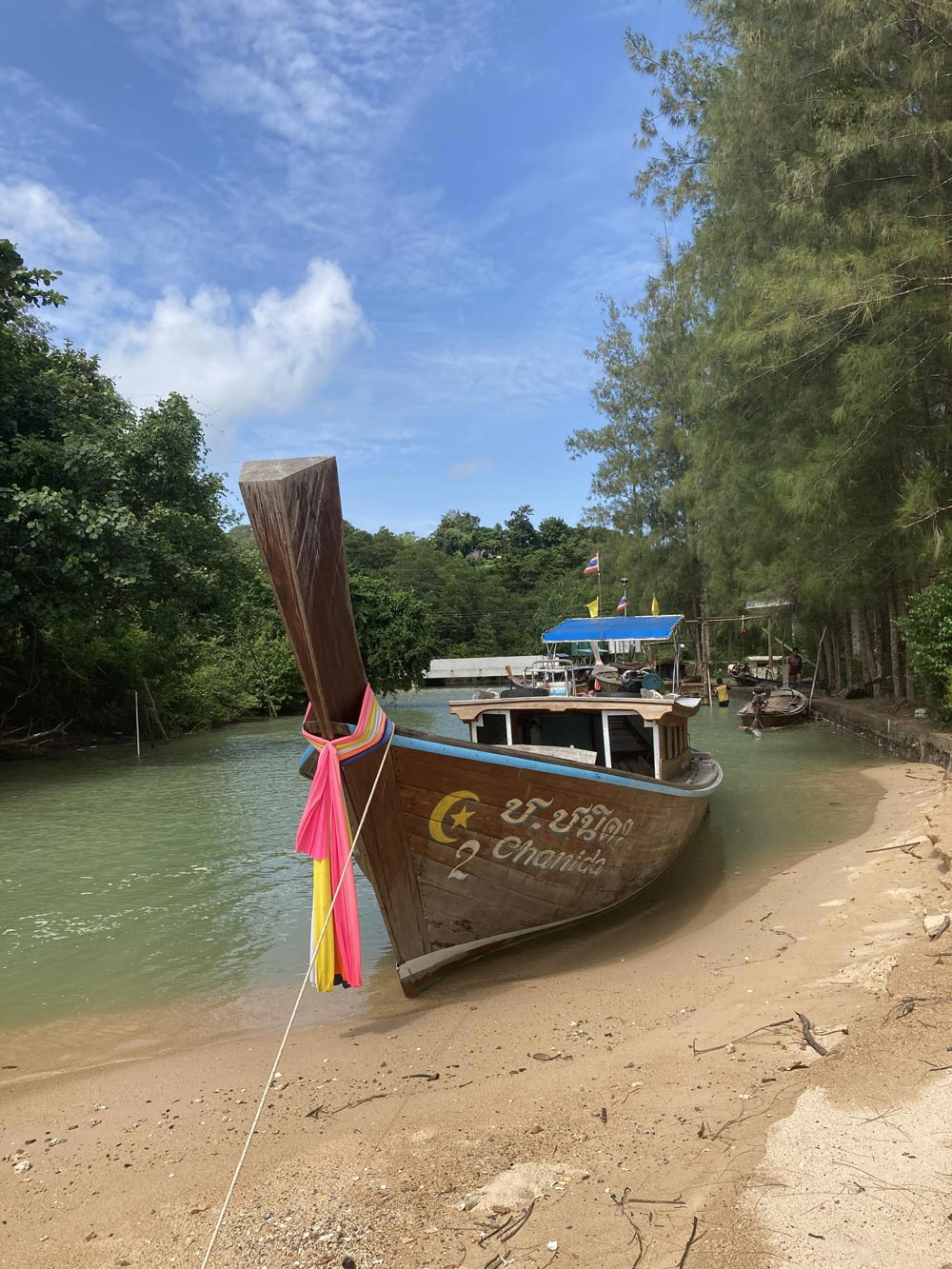 Koh Yao Noi presents so many beautiful photo opportunities like this long tail boat waiting for the tide