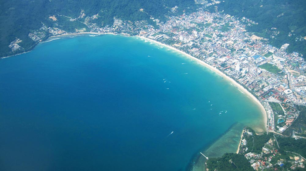 Patong Beach old, pre-drone, aerial shot