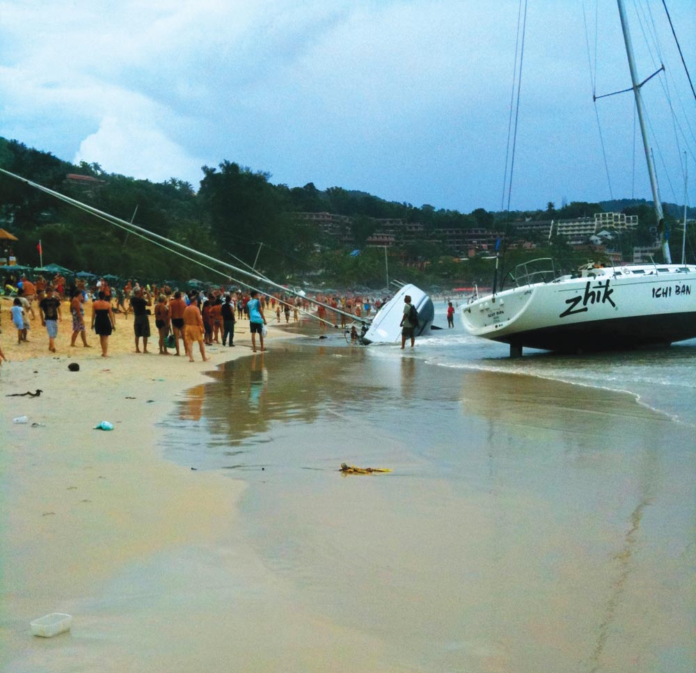 Yachts beached at Kings Cup Regatta 2011
